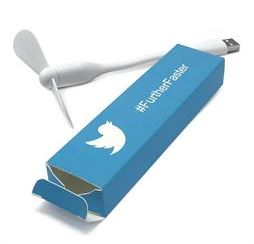 Ventilatore usb con packaging personalizzato Twitter